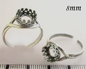 2pcs x Round 8mm Rung Bezel Cups Setting Antique (Oxidized) Sterling Silver 925 (8680)