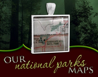 Carlsbad Caverns & Guadalupe Mountains National Parks Map Pendant