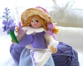 Hanging Ornament Lavender Dreams Piksee miniature Felt Art Doll