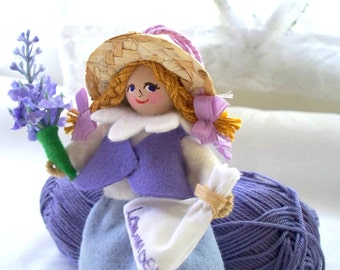 Hanging Ornament Lavender Dreams Piksee miniature Felt Art Doll