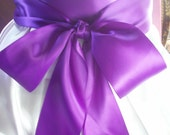 Wedding Sash, 3 inch Double Faced Satin, Purple, Handsewn Ends, Romantic Wedding Sash