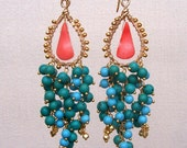 L a g u n a - 14k gold filled - vermeil - wire wrapped - turquoise - coral - chandelier earrings