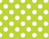 Riley Blake Lime Dot Flannel Fabric, 1 yard