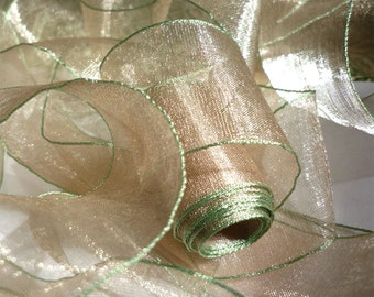 "5 Yards of Sand Organdy Ribbon Banded in Leaf Green (1.5"")"