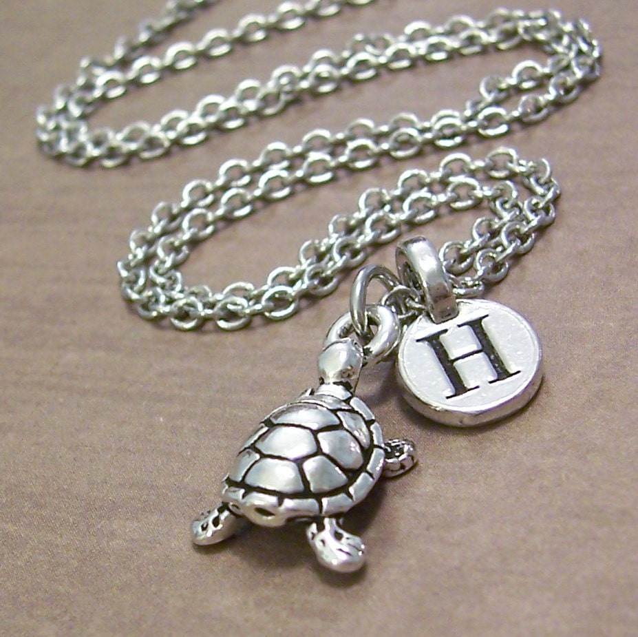 turtle charm necklace personalized turtle jewelry by. Black Bedroom Furniture Sets. Home Design Ideas