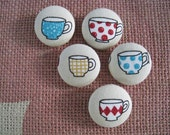 Fabric Covered Button - 7/8 inch sew on buttons - The Tea Cup - set of  5