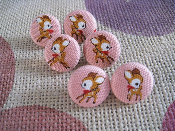 Fabric covered buttons  Deer Bambi - 3/4 inch set of  6