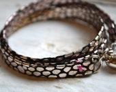 black silver snakeskin print genuine leather triple wrap bracelet with silver tassel