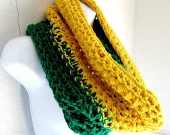 Infinity Scarf Cowl- Yellow and Green Extra Large Chunky Scarf, Cowl, Loop, Mustard Yellow, Emerald Green, Buy one get one 50% off