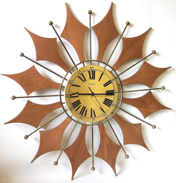 Starburst lamp etsy - Vintage Starburst Wall Clock Teak Wood Mid By Retroclassics