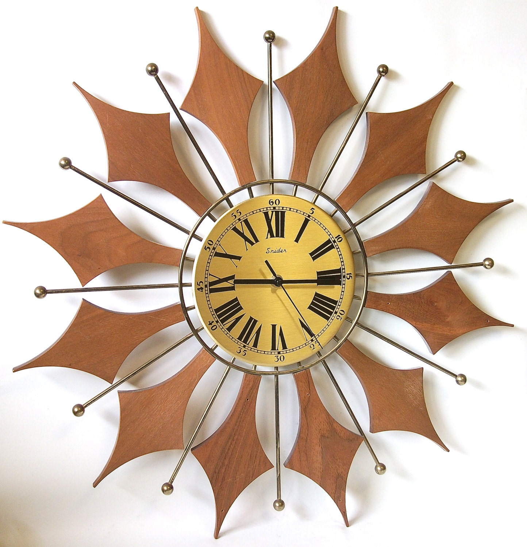 Vintage Starburst Wall Clock Teak Wood Mid Century Sunburst