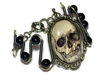 Steampunk Goth Jewelry - Bracelet - Antique Skull Cameo