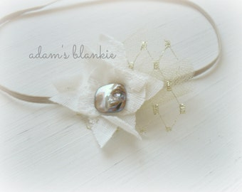 Tanis - Gold and Cream - Lace Tulle Flower Headband - Metallic Stone - Baby Infant Newborn Girls Adults - Photo Prop