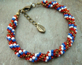SALE Patriotic Red White Blue and Copper Beaded Spiral Rope Bracelet           1.99 SHIPPING USA