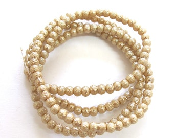 Light Tan Textured Pearlish 4mm Round Beads, Sold per 24 inches Strand, about 180 pc, 1074-30