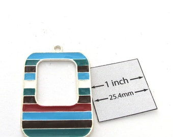 Multi Colors Enamel Silver Metal 42mm x 30mm Rectangular Striped Design Pendant, 1092-20G