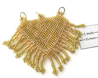 Light Yellow and Brown Seed Beads, Handweaved 60mm x 70mm Pendant, OOAK, 1009-40