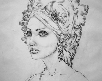 "Original Drawing ""Karnica,"" Portrait of a girl"