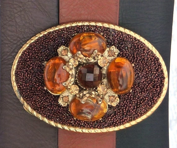 Women's Custom Belt Buckle - Gold Brown Amber ALteReD ViNtAgE JeWeLrY - Embellished Buckle - Ladies Fashion Accessory - OOAK