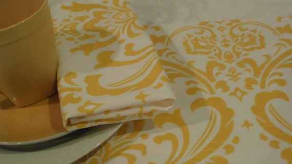 YELLOW DAMASK LINEN Table Runner, Centerpiece Square or Round, Napkins, Placemats Tradition Wedding Bridal Decor