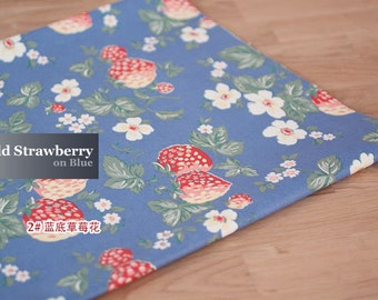 3291 - Cath Kidston Wild Strawberry (Blue) Matt Oilcloth Waterproof Fabric - 28 Inch (Width) x 17 Inch (Length)