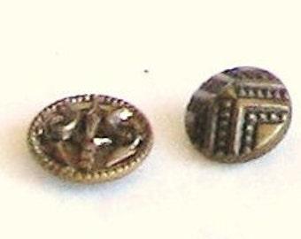 vintage buttons, brass, buttons, 2 pieces, F, destash