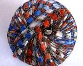 Ribbon ladder yarn,  AMERICANA, red white blue silver sparkle, trellis yarn, Berlini East Track II Metallic,  92, patriotic
