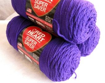 Red Heart Super Saver yarn, AMETHYST dark purple yarn,  worsted weight yarn,  Economy size, 356