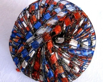 Ribbon ladder yarn,  AMERICANA, red white blue silver sparkle, trellis yarn, Berlini East Track II Metallic,  92, patriotic