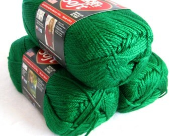 Red Heart Soft yarn, TRUE GREEN,  medium worsted weight, Bright  Green,  grass green yarn