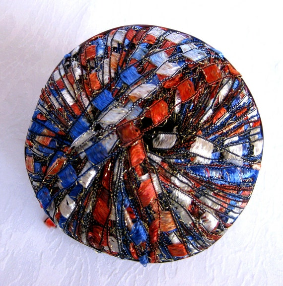 Ribbon Ladder Yarn AMERICANA Red White Blue Silver By
