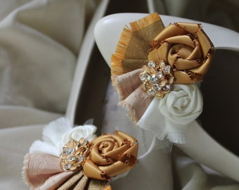 Wedding or Dress- Golden night, rolled rosette shoe clips
