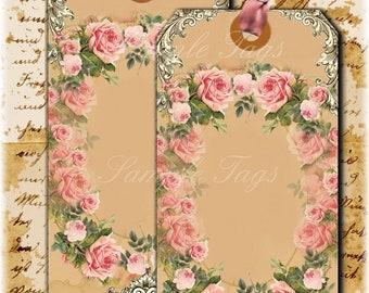 "INSTANT DOWNLOAD Set of 6 ""Pink Cottage Rose Tags  -   Digital Download - Printable  Digital Collage Sheet - Romantic - old aged images"
