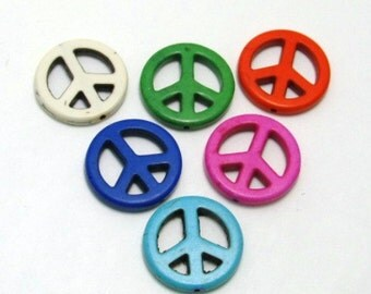 Large Howlite Peace Sign Beads- Set of Three