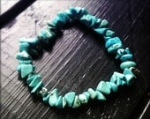 Friendship - Turquoise, Stackable, Stretchy, Elastic, Sterling Silver, Bracelet