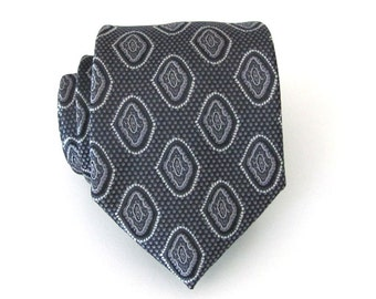 Mens Ties. Black and Grey Mens Necktie