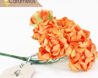 24 Orange Crinckle Millinery Paper Roses Flowers