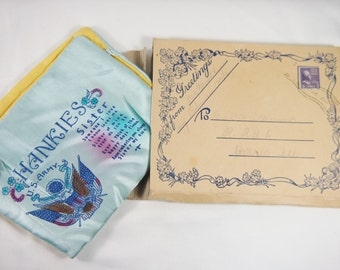 Vintage 40s Camp Robinson WWII Pvt Hussey Letter Package with Hankie Holder Gift