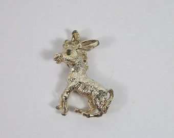 Sitting Donkey Gold Tone Brooch 60s Vintage Jewelry