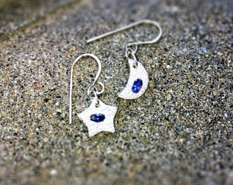 Fine silver moon and star earrings