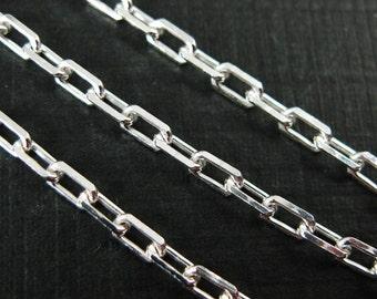 925 Sterling silver Chain,Anchor Chain-Bulk Unfinished Chain-Diamond Cut Box Chain -3mm -Jewelry Marking Chain(5 feet ) -SKU: 101041