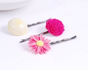 Pink Flower Hair Pins -  Pink Daisy Flower Bobby pins, Hair Jewelry Accessories Gifts for Her Girl Under 15