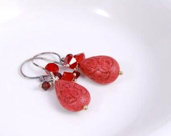 Vintage Inspired Teardrop Earrings, Red Garnet Ruby Earrings, Birthstone Jewelry Gifts for Her