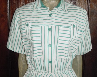 Vintage 80s Green White Stripe Dress 14P Cotton Blend