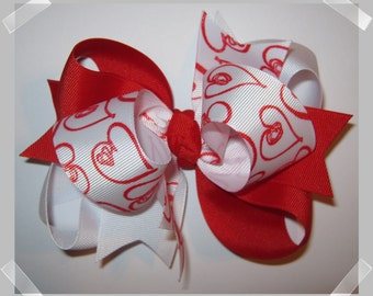 Large Red and White Doodle Hearts Triple Loop Grosgrain Hair Bow