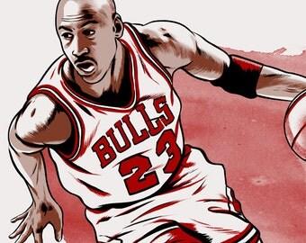 Michael Jordan Chicago Bulls illustrated print