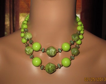 Vintage Lime Green Two Stranded Large Bold Beaded Necklace
