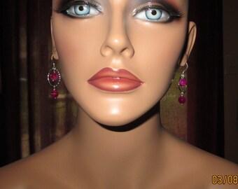 Sterling Silver Fun Fuchsia Hued Agate Beaded Dangling Earrings