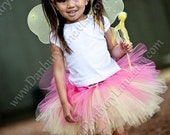 Yellow and hot pink Toddler Tutu only, Birthday girl skirt, sizes 2t, 3t, 4t, Fairy Princess Halloween Costume -YELLOW GARDEN BUTTERFLY