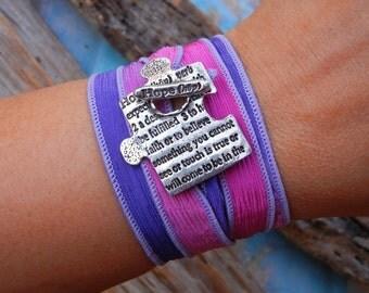 Puzzle Piece Jewelry, Memorial Jewelry, HOPE Silk Wrap Bracelet, Inspirational Quote Silver Wrap Bracelet, Inspirational Gift
